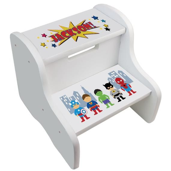 Enjoyable Kids Personalized Superhero Step Stool Great Super Hero Boys Ibusinesslaw Wood Chair Design Ideas Ibusinesslaworg