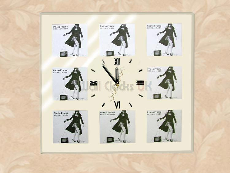 multi photo frame wall clock for memories through time.
