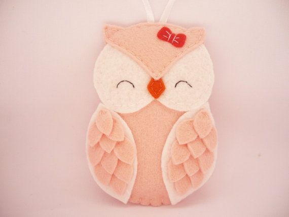 Personalized owl felt Christmas ornament - baby girl  Christmas ornament - custom ornament