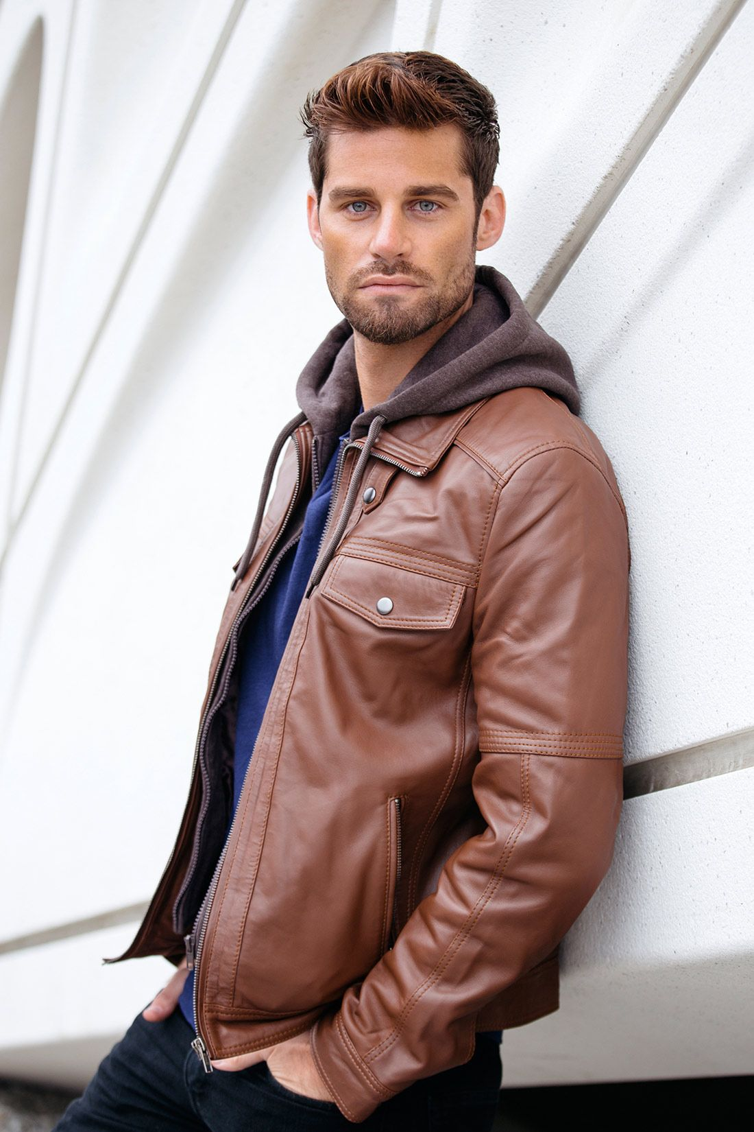Brown Leather Bomber Jacket With Removable Hood Genuine