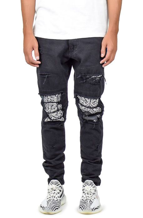 248471b1158 @karmaloop $78.00 $ Converter The Ripped Bandana Patched Jeans in Black  Hover image to zoom