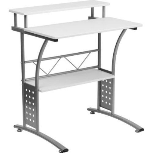 White Small Computer Desk Compact Space Saver Kids Workstation Table Home  Office #FlashFurniture