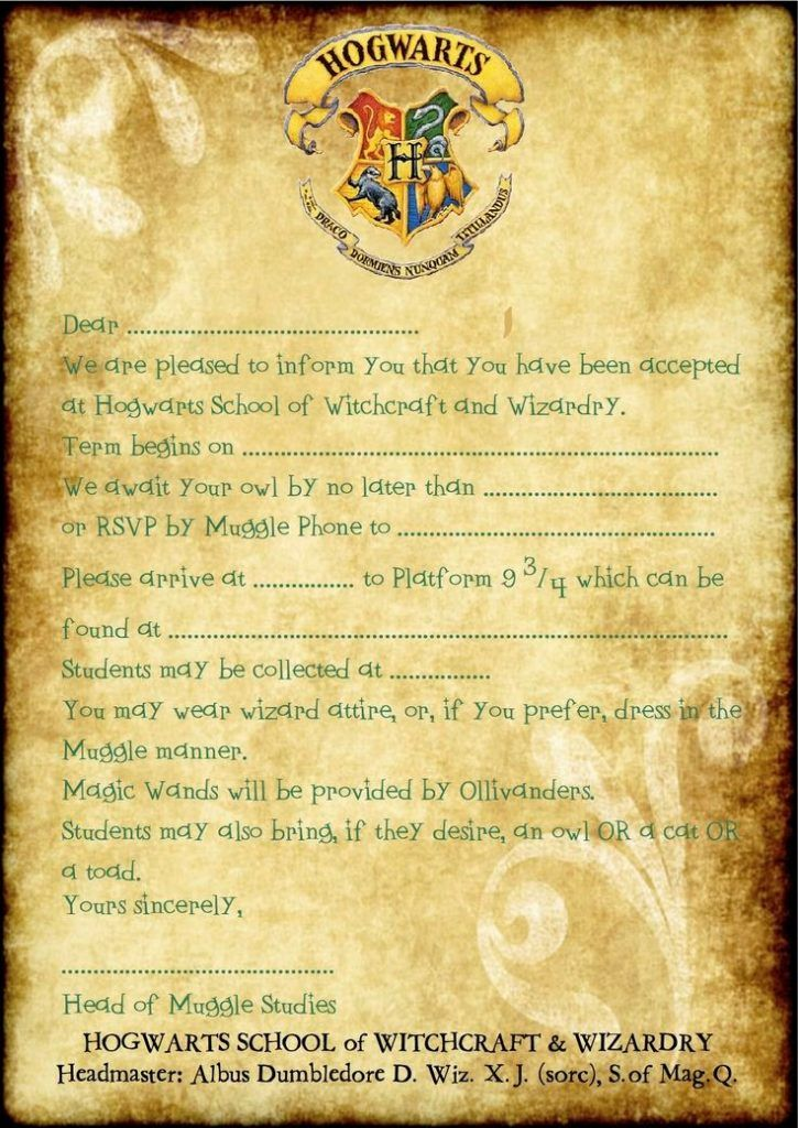Simplicity image throughout harry potter invitations printable