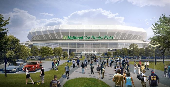 Proposed Riverfront Stadium Gets A Name National Car Rental Field National Car Nfl Stadiums Stadium