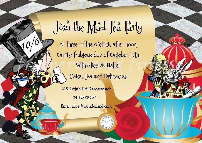 mad hatter tea party invite invitation digital card 300dpi jpeg, Party invitations