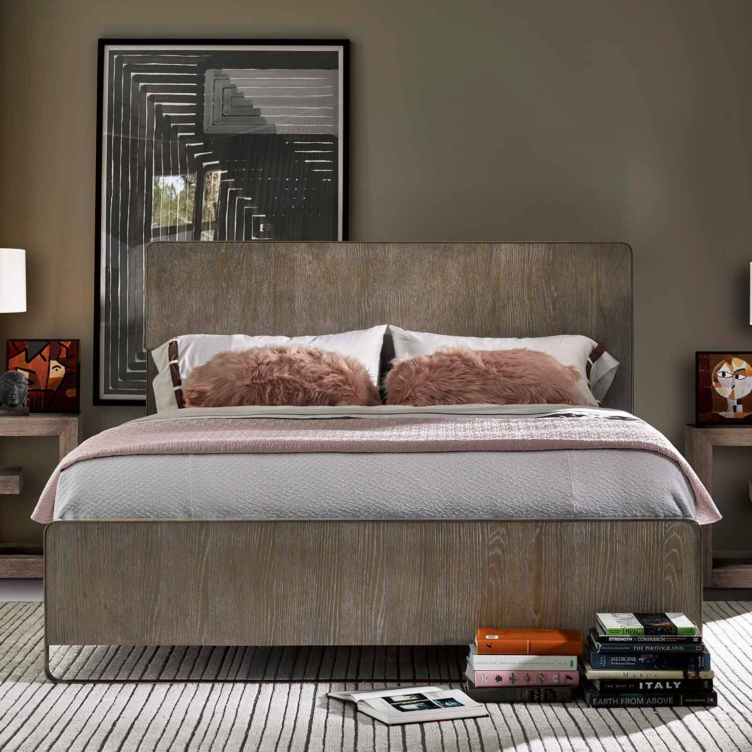 Modern Keaton Wood Bed in Charcoal Panel bed