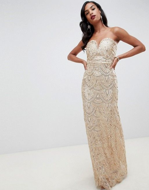 dba91bd5 TFNC patterned sequin bandeau maxi dress in gold in 2019   prom ...