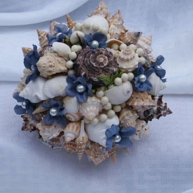 Items Similar To Sky Blue Seashell Wedding Bouquet Beach On Etsy