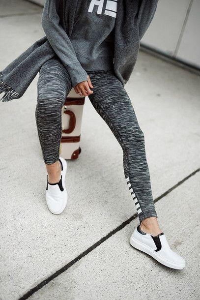 Leggings: tumblr grey workout sports slip on shoes shoes white shoes  sweatshirt scarf workout