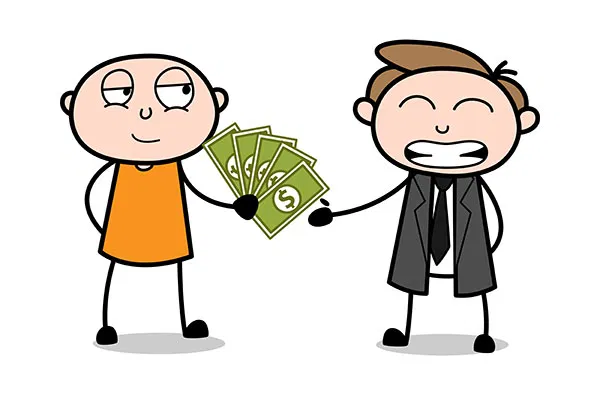 Offering Money To The Lawyer Cartoon Thief Vector Clip Art