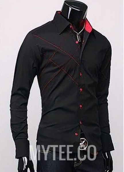 Smart long-sleeve dress shirt with a embroidered lines running at an angle  on the