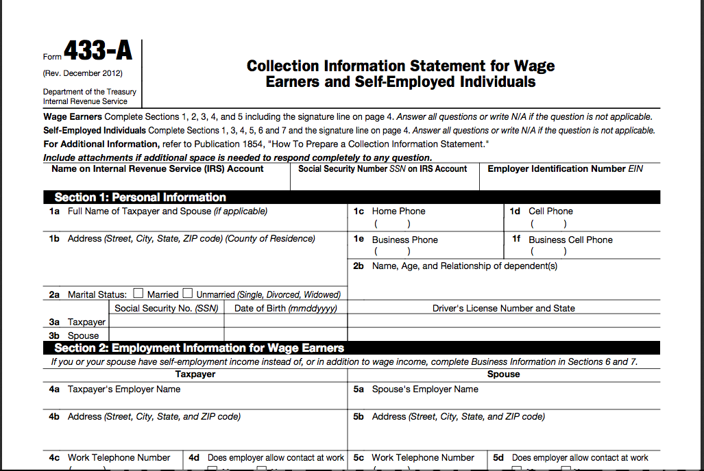 Irs Form A Collection Information Statement For Wage Earners