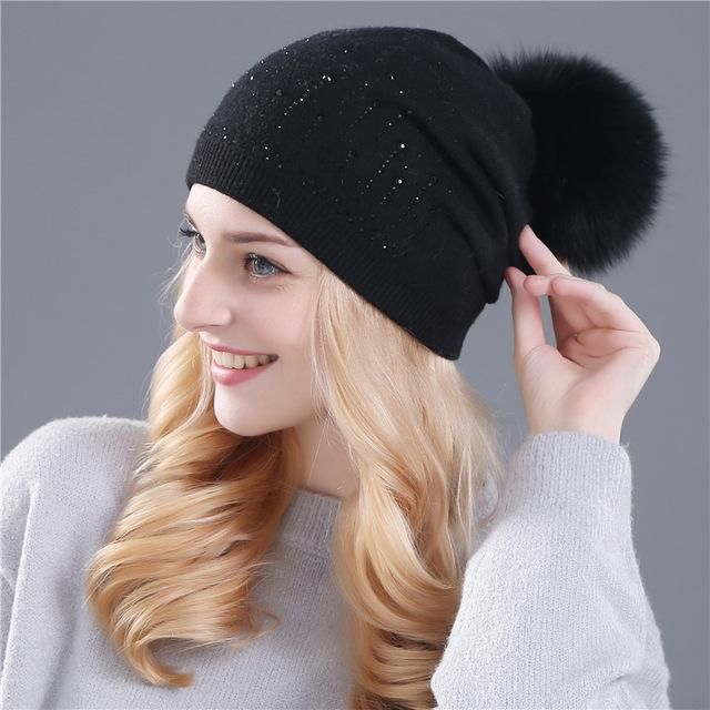 Xthree winter hat for women Rabbit fur wool knitted hat beanies real mink  and fox fur pom poms Skullies hat girls hat feminino Xthree winter hat for  women ... 71e9ae04fe15