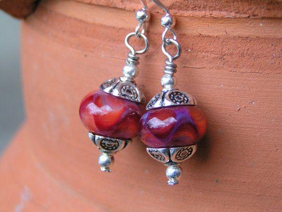 American Beauty Lampworked Earrings and Ring by cripplecreekglass