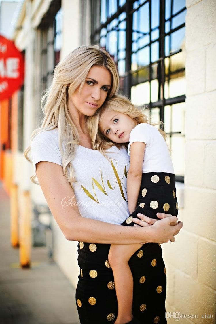 Family Matching Outfits Mother and Daughter Clothes dress Baby Girl Dot Shirt