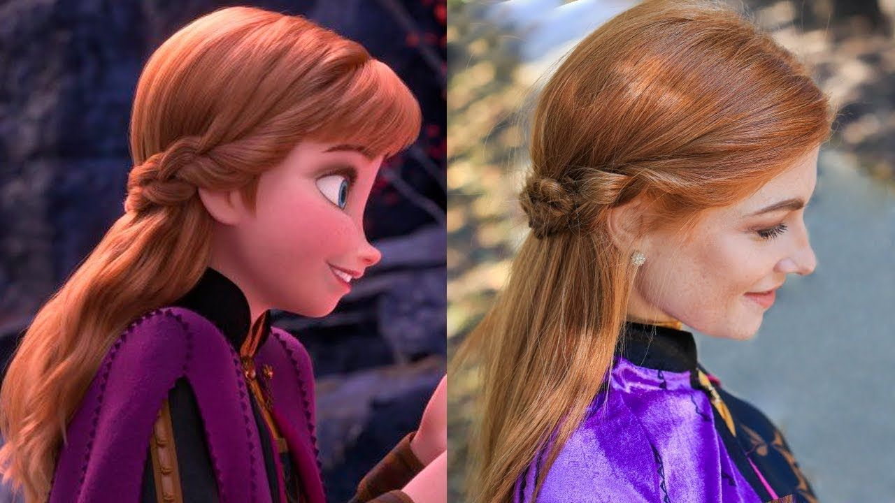 Anna S Frozen 2 Double Braid Back Hairstyle Tutorial Youtube Frozen Hair Anna Frozen Hair Frozen Hair Tutorial