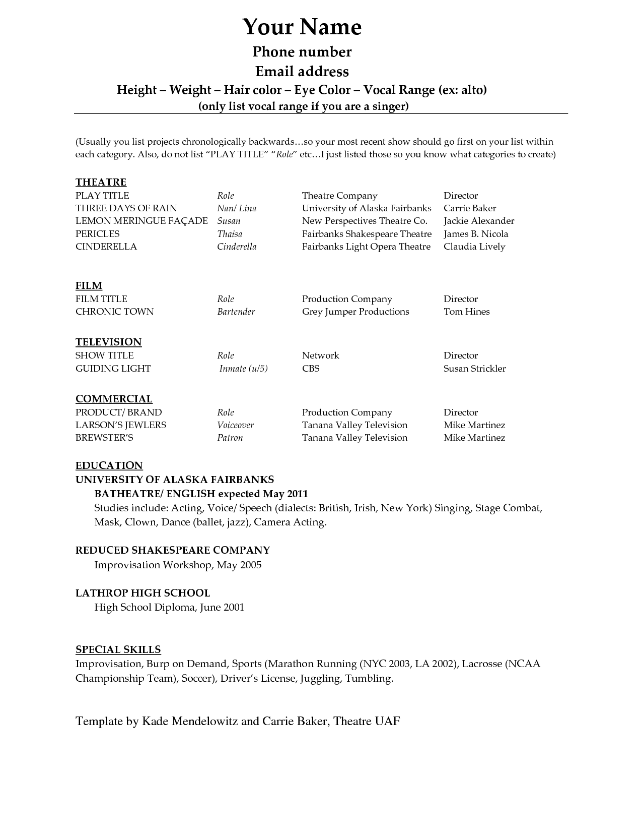 Acting Resume Template Download Free Http Www Resumecareer