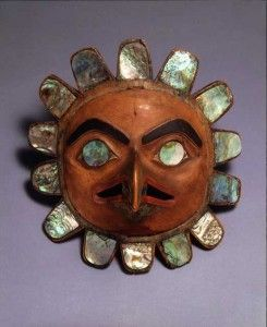 Tsimshian artist, British Columbia. Nineteenth Century Wood, paint, and abalone shell, 8½ by 8 by 5½ inches
