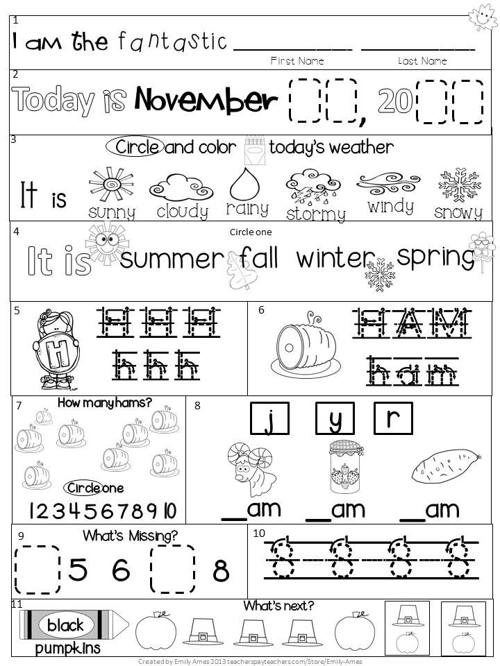 Morning Work Kindergarten November Packet Fall Differentiated Common Core Kindergarten Morning Work January Kindergarten Morning Work