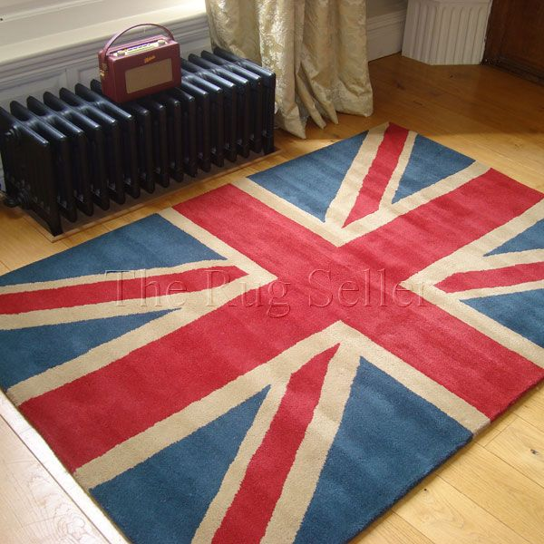 Union Jack Vintage Wool Rugs In Red Blue And Beige