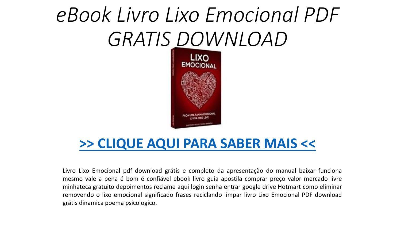 Ebook Livro Lixo Emocional Pdf Gratis Download Pptx Download
