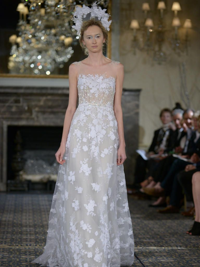 Mira Zwillinger Wedding Dress With Illusion Neckline White Fl Lace And Sequins From Spring 2016