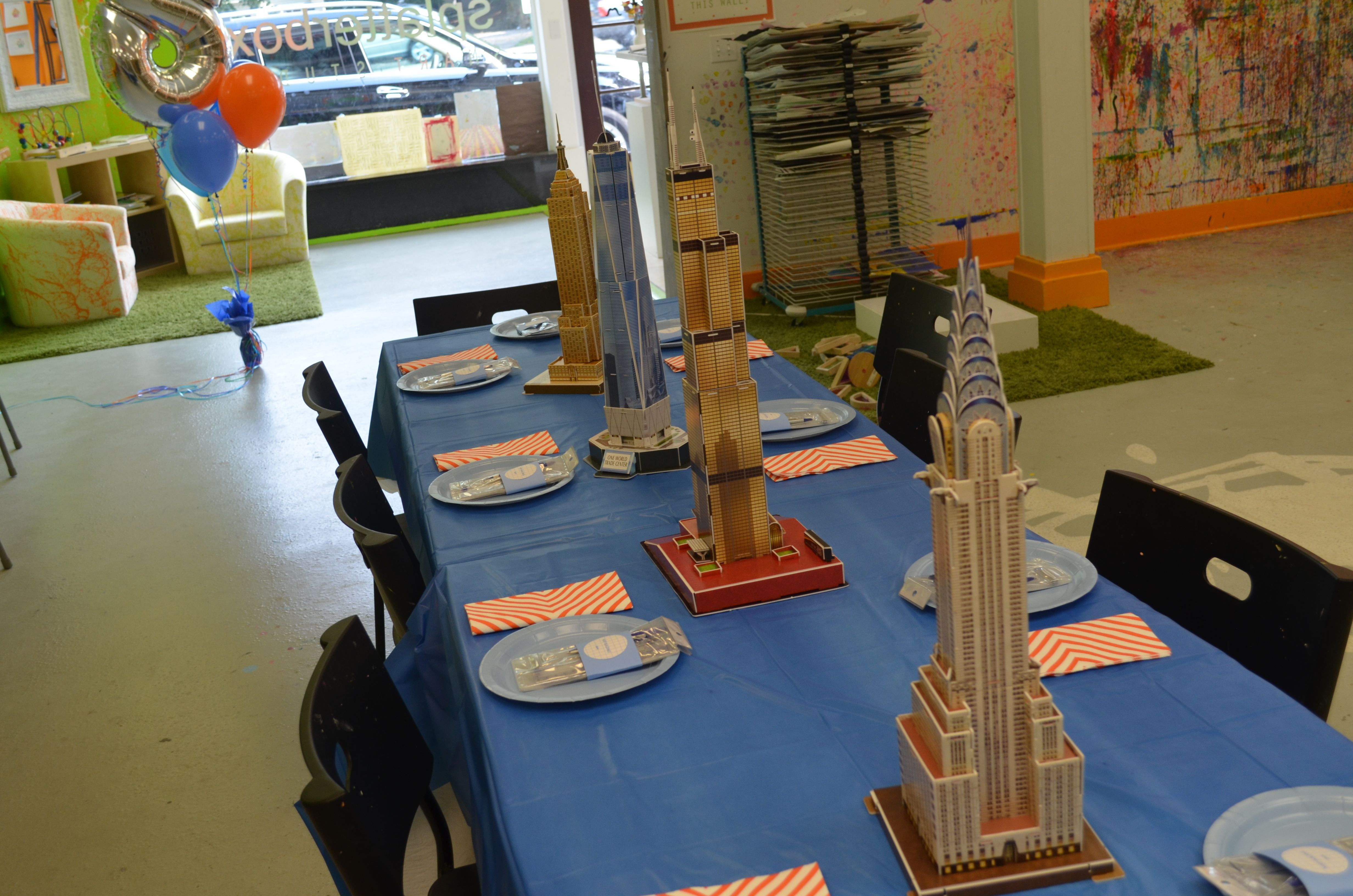 Architect Birthday Party--foam models of famous skyscrapers as centerpiece