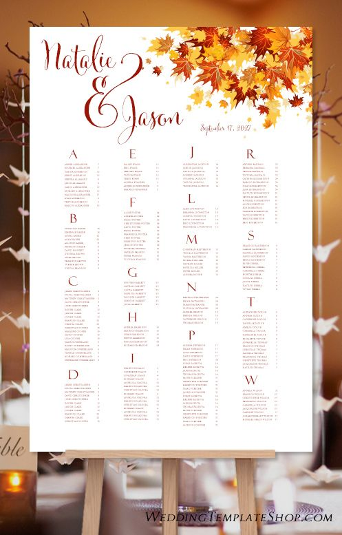 Custom wedding seating charts order your sign at boardman printing visit us on facebook boardmanprinting also chart poster falling leaves red orange print ready rh pinterest