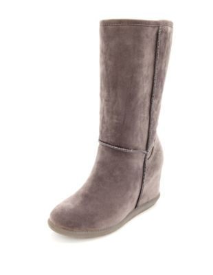 sueded slip on wedge boot