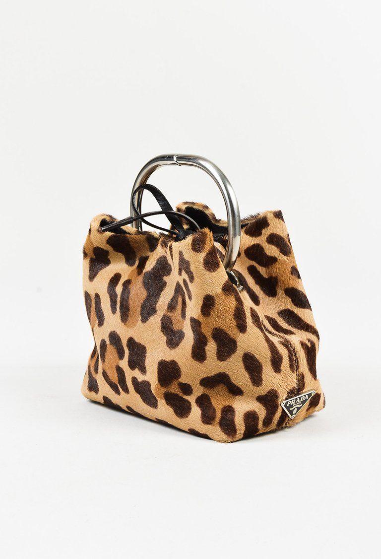 f79751e8939e Prada - Brown Calf Hair Animal Print Silver Ring Miniature Bag ...