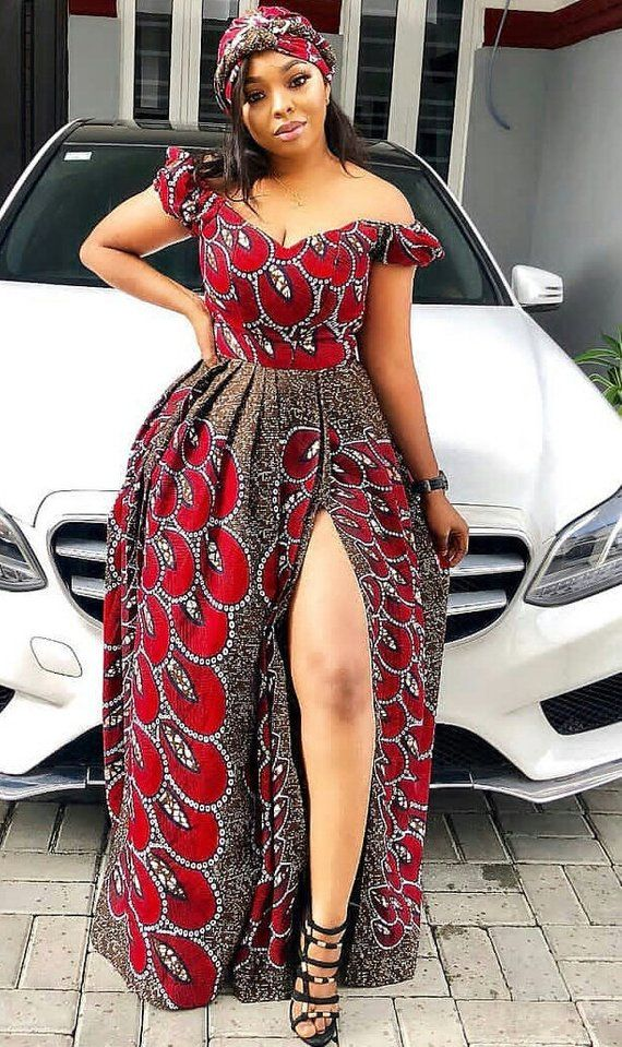 215cb12fa4f0 African print maxi dress with high slit Ankara dresses After-party ...