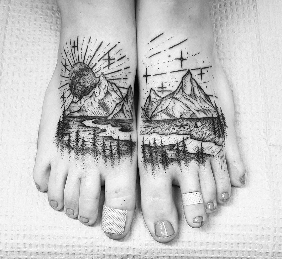 Mountains & River Foot Tattoo