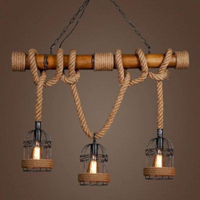 Bjvb Three Vintage Industrial Wood Pendant Lamp Bedroom: 30 Incredible DIY Hanging Lamp For Rustic Home Decor