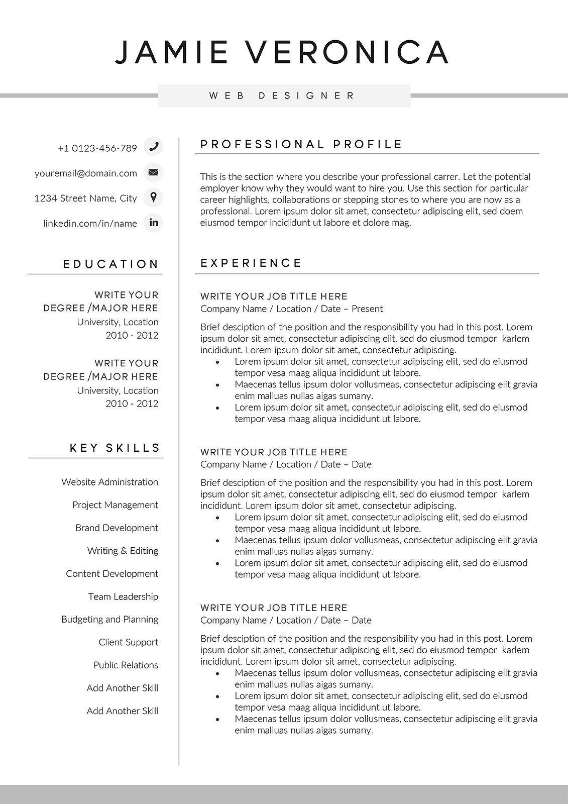 Resume/CV The Jamie Resume cv, Word 2007, Resume
