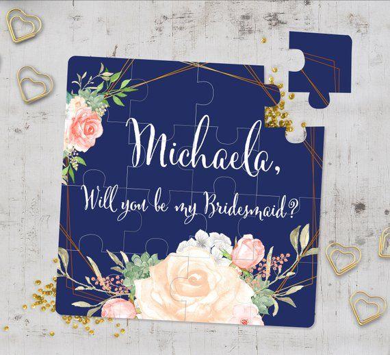 Will You Be My Bridesmaid? Navy And Blush Bridesmaid