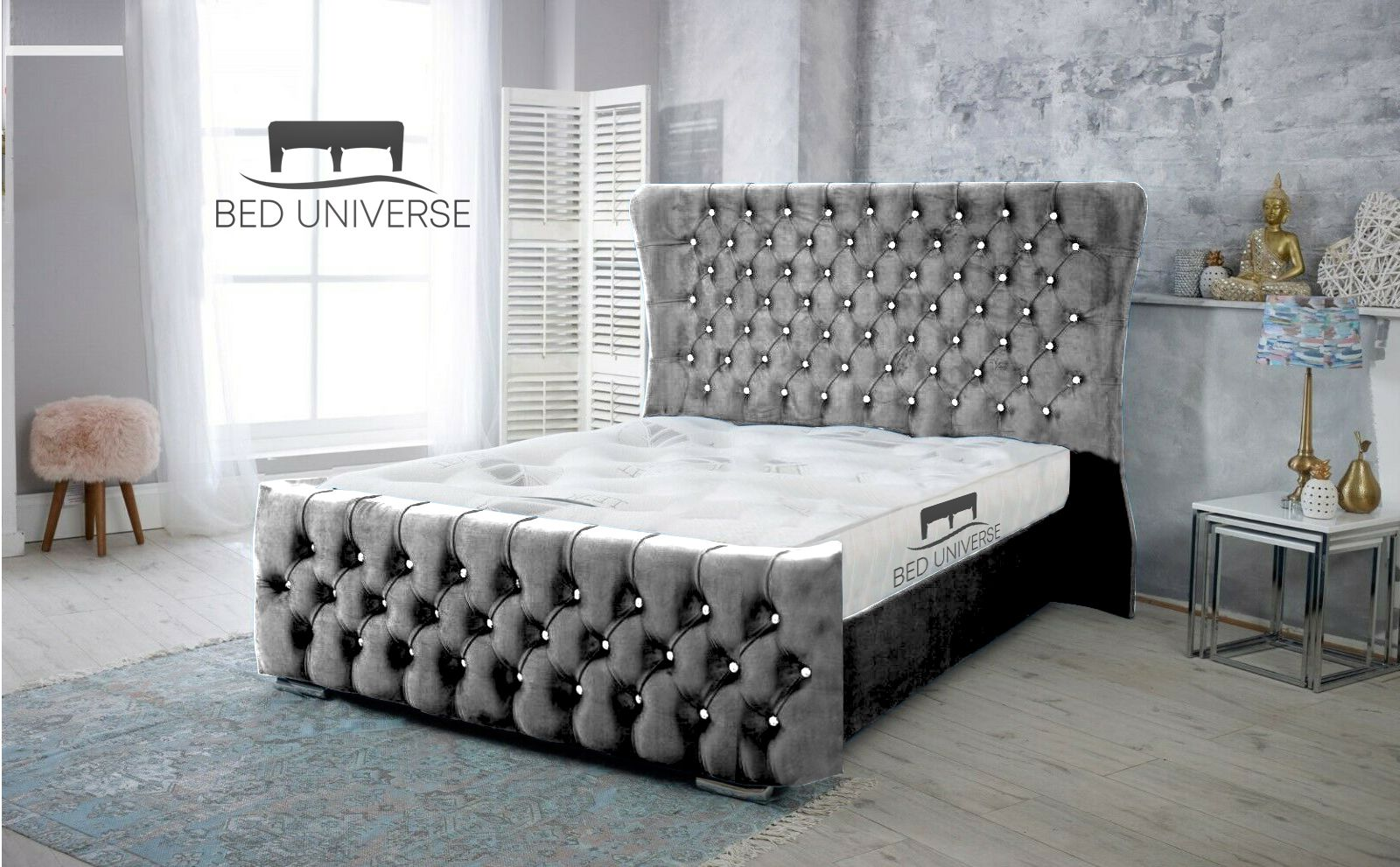 Grammy Steel Plush Fabric Wing Back Bed Frame In 2020 Bed Frame