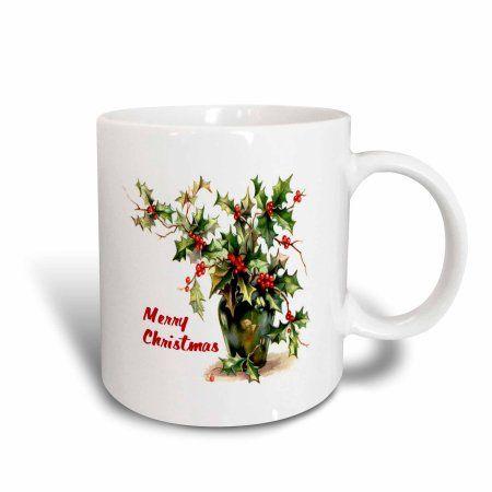 3dRose Holly Leaves Merry Christmas, Ceramic Mug, 15-ounce