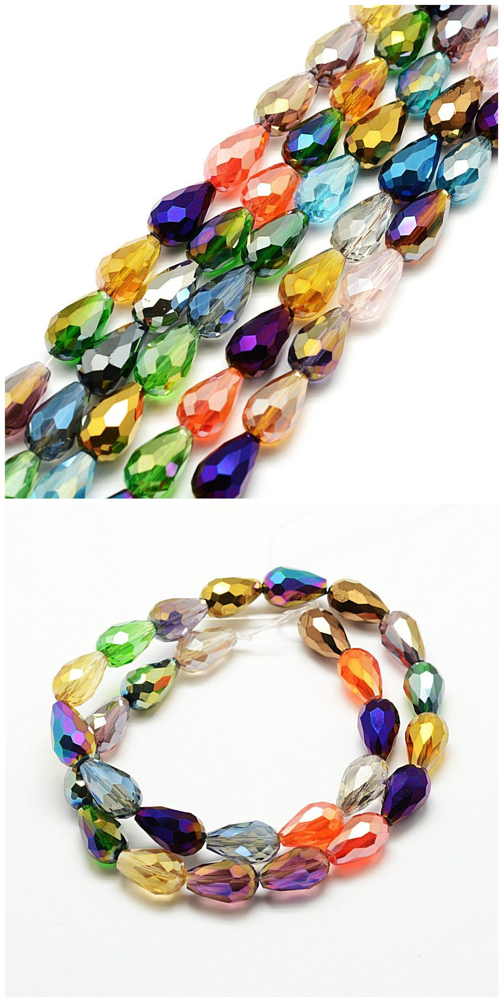 """10 Strands Faceted Drop Glass Beads Strands Craft 15x10mm about 28pcs//strand 16/"""""""