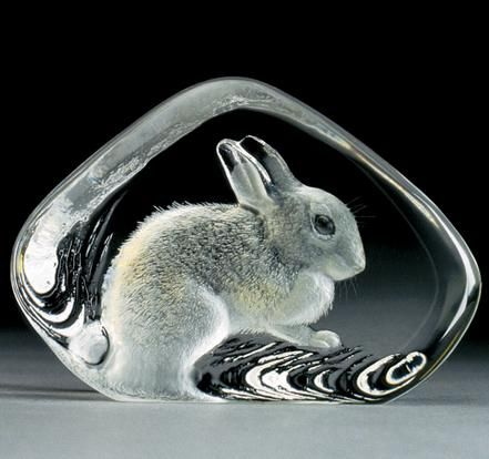 This charming Rabbit Crystal Art-Glass Sculpture from famed Swedish designer Mats Jonasson is a deceptively simple piece whose true depth and substance reveals itself to the nature-loving admirer.