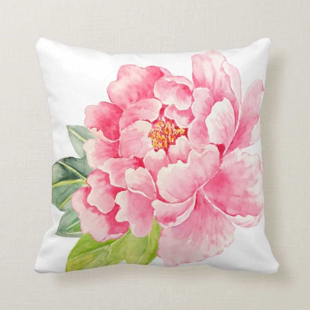 Watercolor Pink Peony Cushion Zazzle Com In 2021 Flower Drawing Peony Art Flower Art