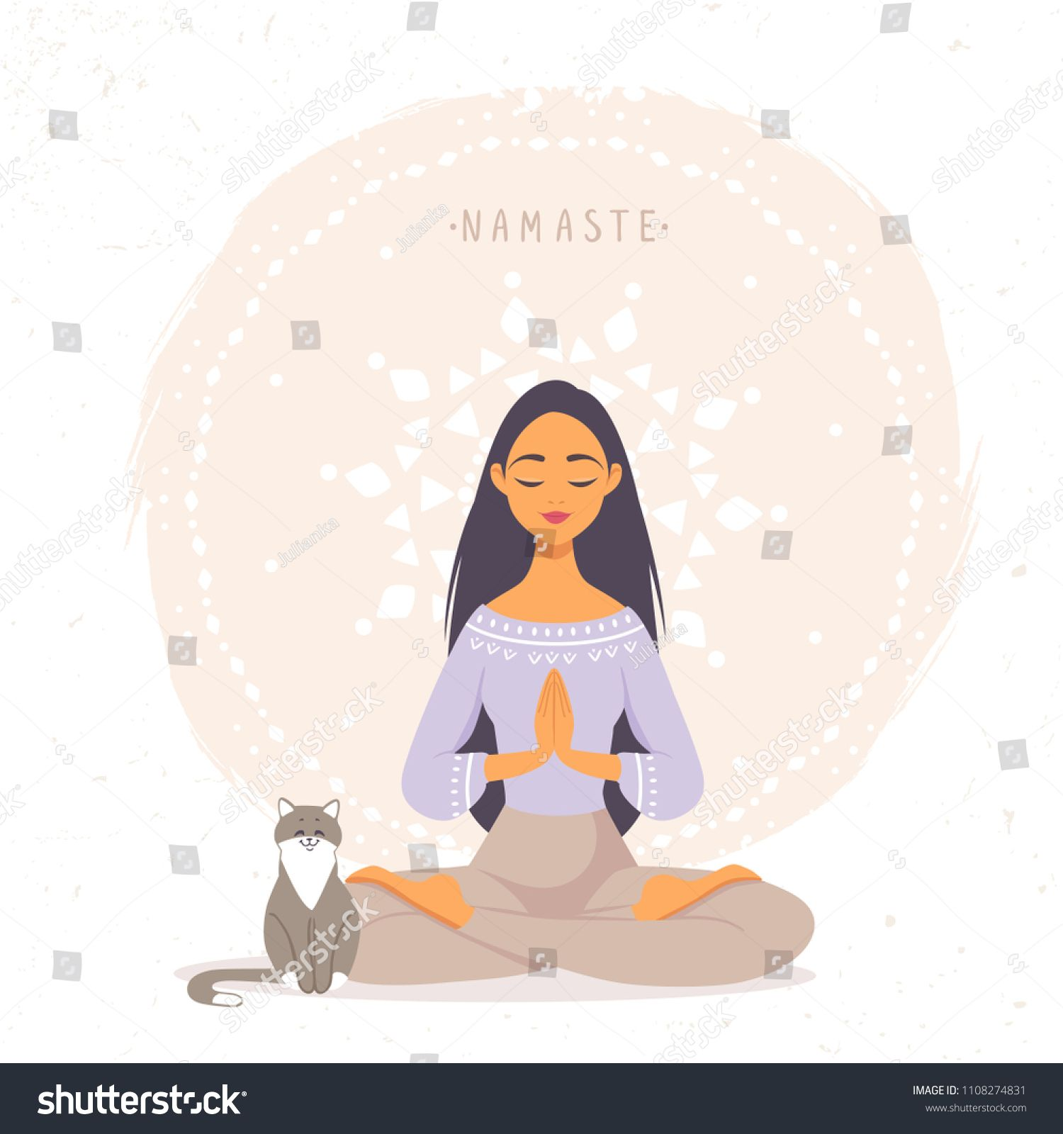 Amazing Cartoon Girl In Yoga Lotus Pose With Cute Cat Practicing Yoga Vector Illustration Young And Happy W Myltfilm Dlya Devochki Illyustracii Kartinki Jogi