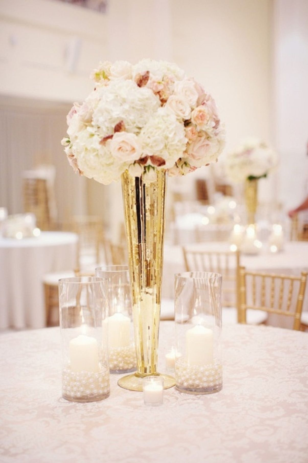 Tall Gold Mercury Glass Vases Tall Vase Wedding Centerpieces Wedding Centerpieces Beige Wedding