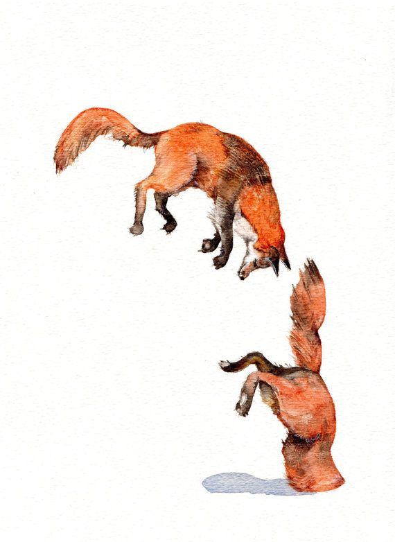 Jumping Red Fox Animal Art Print Of Original Watercolor