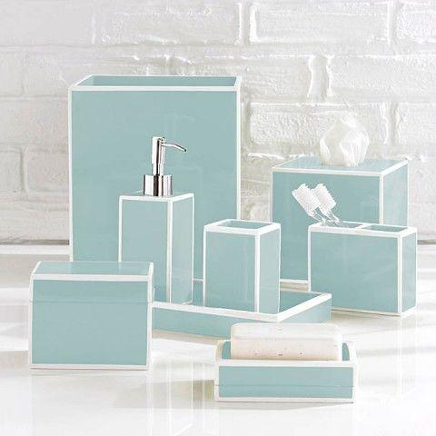 Kassatex Soho Blue Bath Accessories, Light Blue Bathroom Accessories