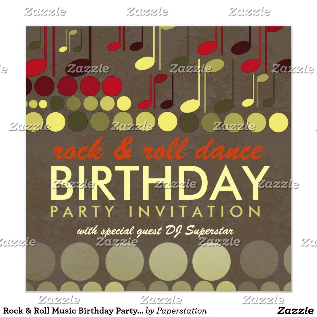 Rock & Roll Music Birthday Party Invitation | 65th Birthday Invites ...
