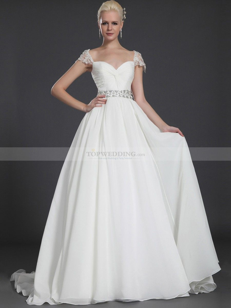 Cap sleeved criss cross bodice chiffon over satin wedding gown with