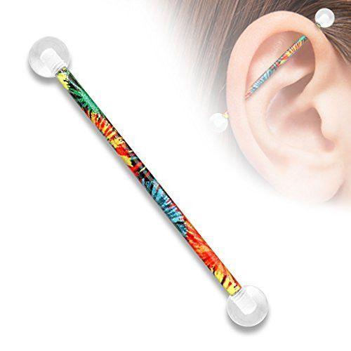 38mm Bar FLOWER /& GLASS SHELL INDUSTRIAL EAR PIERCING BARBELL BODY JEWELRY