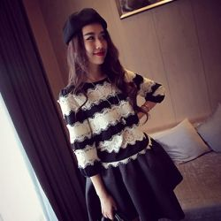6700eaad309 J41830 Europe fashion lace splicing stripes chiffon blouse  J41830  -  7.89    China