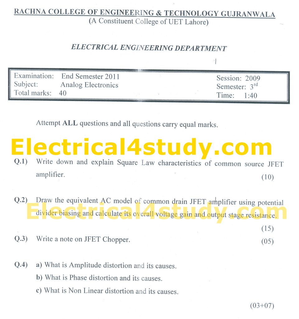 Analoge Digital Electronic Circuits Uet Past Papers Analog What Are Circuit