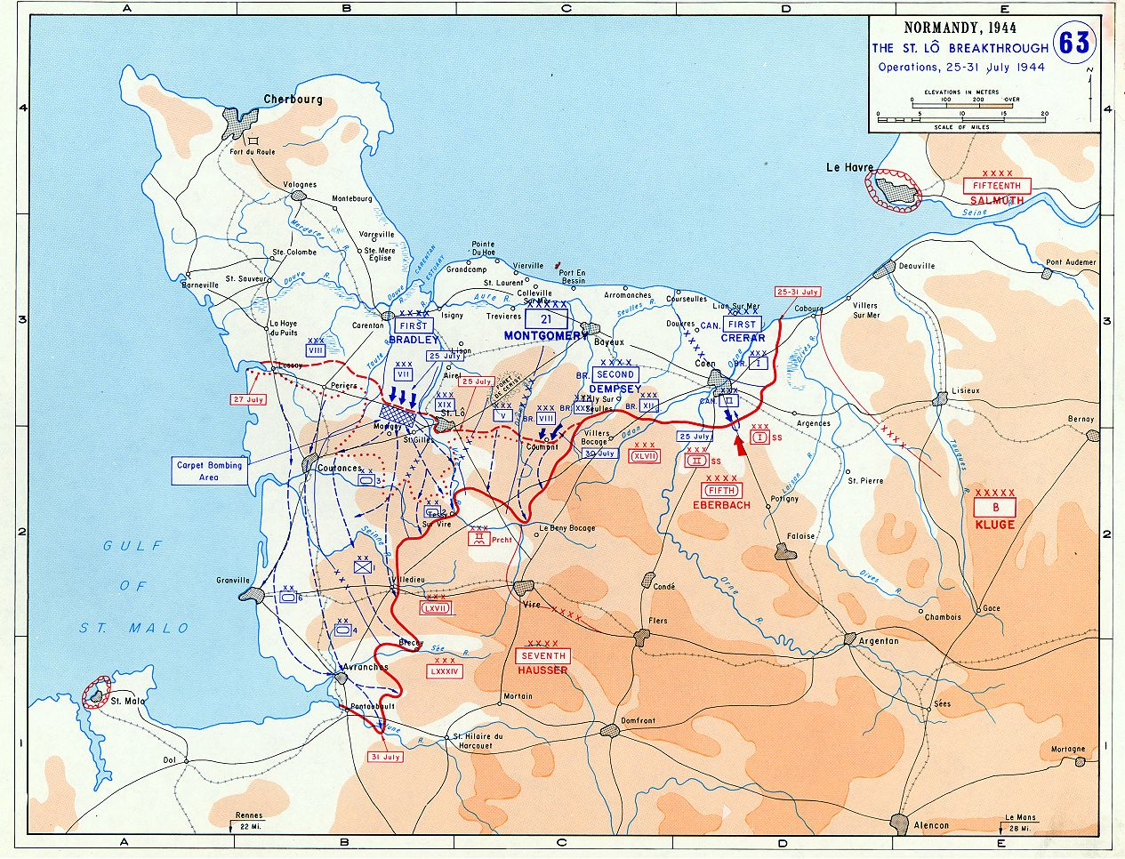World War II Operation Cobra  Breakout from Normandy Map